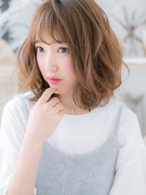 前髪&メンテカット+グラスベールカラー+質感別ツヤパーマ